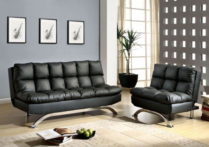 Aristo Black Leatherette Living Room Set