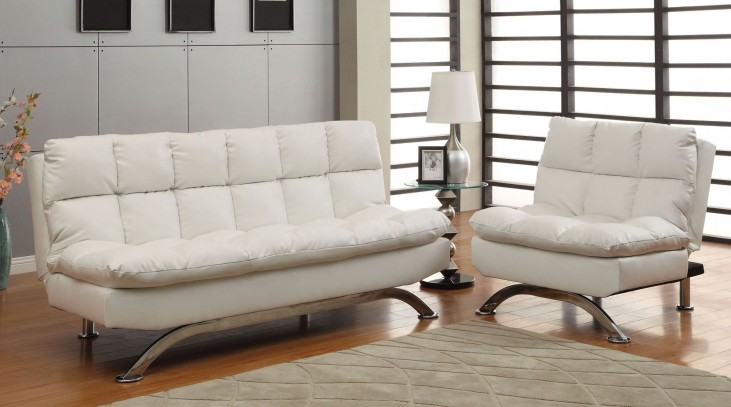Aristo White Leatherette Living Room Set