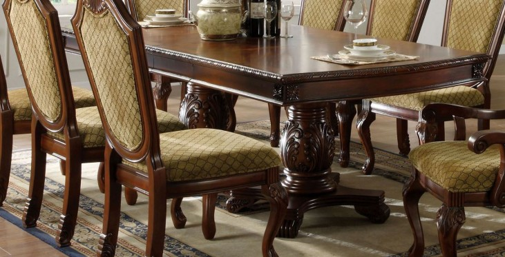Napa Valley Dark Cherry Rectangular Double Pedestals Dining Table