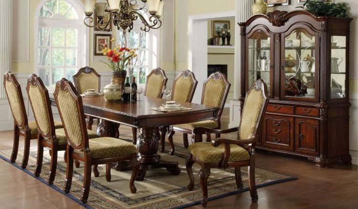 Napa Valley Dark Cherry Rectangular Double Pedestals Dining Room Set
