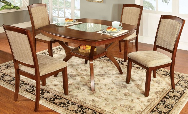 Redding I Oak Glass-Insert Square Pedestal Dining Room Set