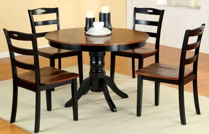 Johnstown Antique Oak and Black Round Pedestal Dining Room Set
