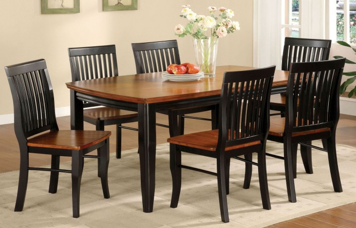 Earlham Antique Oak and Black Rectangular Leg Dining Room Set