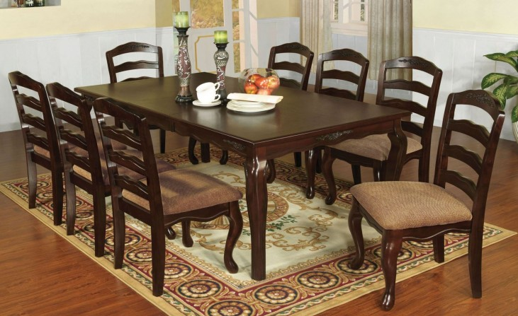 "Townsville Dark Walnut 78"" Rectangular Extendable Leg Dining Room Set"