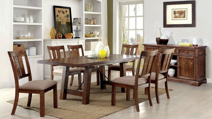 Dickey Medium Oak Extendable Rectangular Dining Room Set