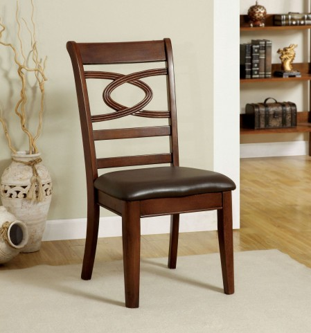 Carlton Brown Cherry Leatherette Side Chair Set of 2