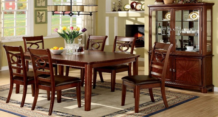 Carlton Brown Cherry Rectangular Extendable Leg Dining Room Set