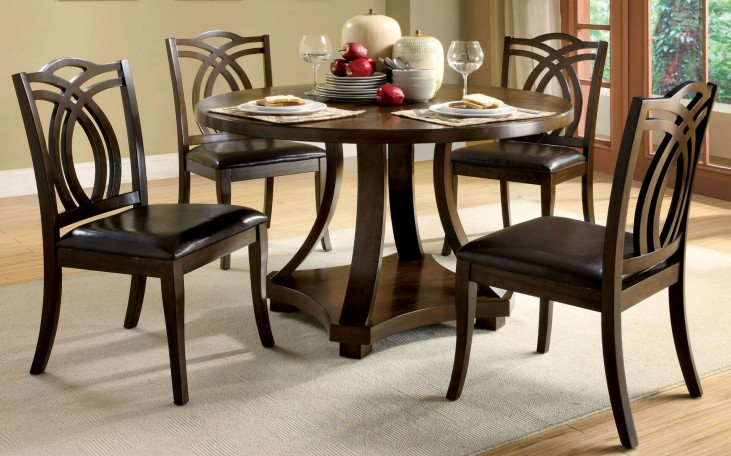 Keukenhof Dark Walnut Round Pedestal Dining Room Set