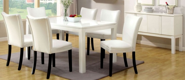 Lamia I High Gloss White Rectangular Leg Dining Room Set