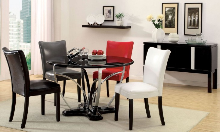 Belliz Black Round Pedestal Dining Room Set
