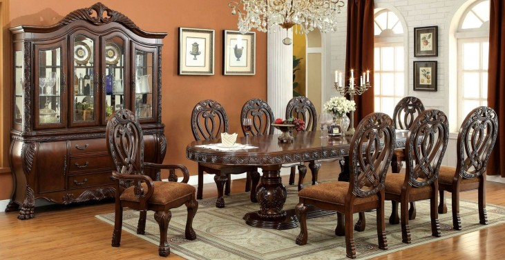 Wyndmere Cherry Oval Extendable Pedestal Dining Room Set