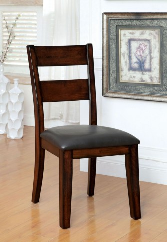 Dickinson I Dark Cherry Leatherette Side Chair Set of 2