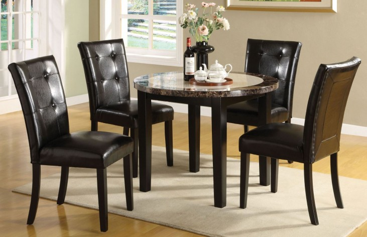 Atlas III Faux Marble Top Round Leg Dining Room Set