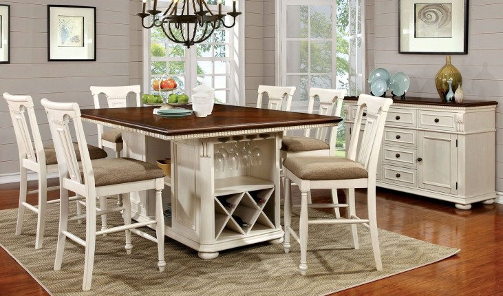 Sabrina Cherry & White Counter Height Dining Room Set
