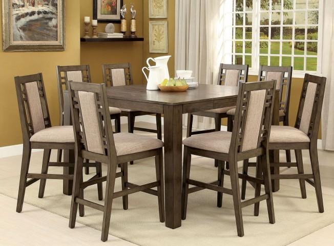 Eris II Weathered Gray Extendable Counter Height Dining Room Set