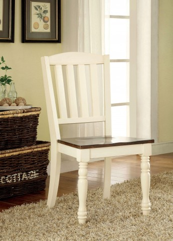 Harrisburg Vintage White and Dark Oak Side Chair Set of 2