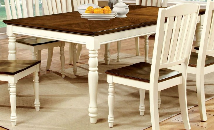 Harrisburg Vintage White and Dark Oak Rectangular Extendable Dining Table