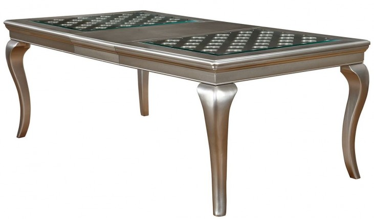 Amina Silver Extendable Rectangular Dining Table