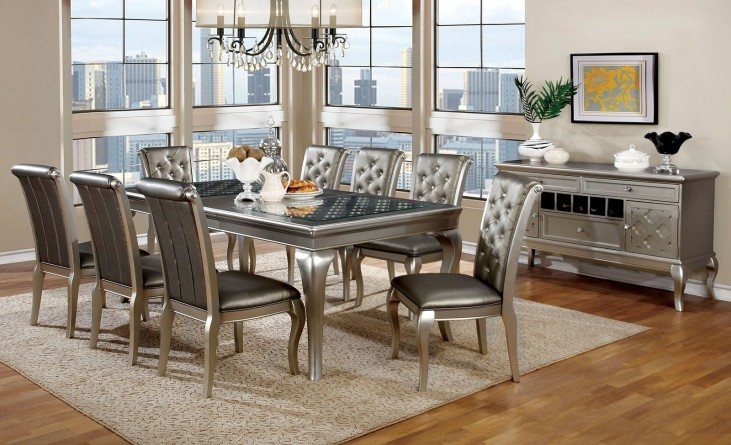 Amina Silver Extendable Rectangular Dining Room Set