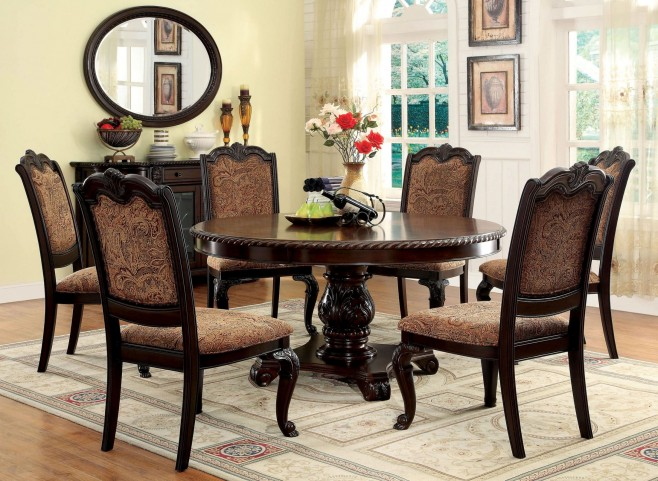 Bellagio Brown Cherry Round Pedestal Dining Room Set