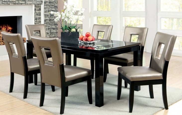 Evant I Mirror-Insert Rectangular Leg Dining Room Set