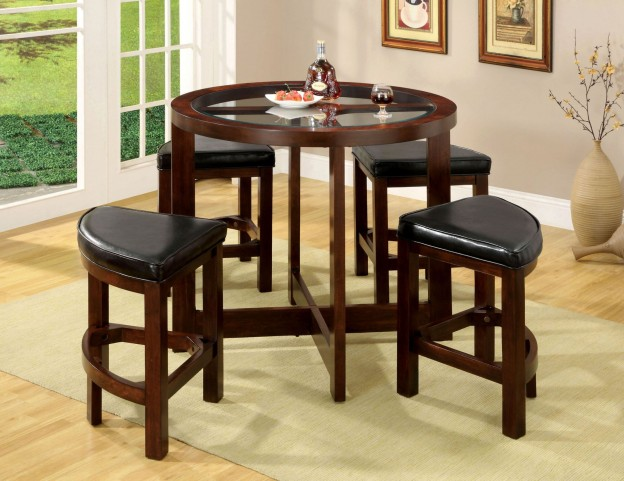 Crystal Cove I 5 Piece Glass-Insert Round Counter Height Table Set