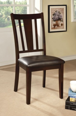 Bridgette I Espresso Leatherette Side Chair Set of 2