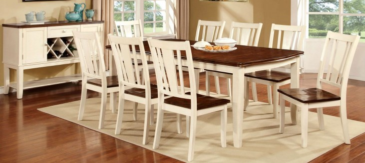 Dover Vintage White and Cherry Rectangular Extendable Leg Dining Room Set