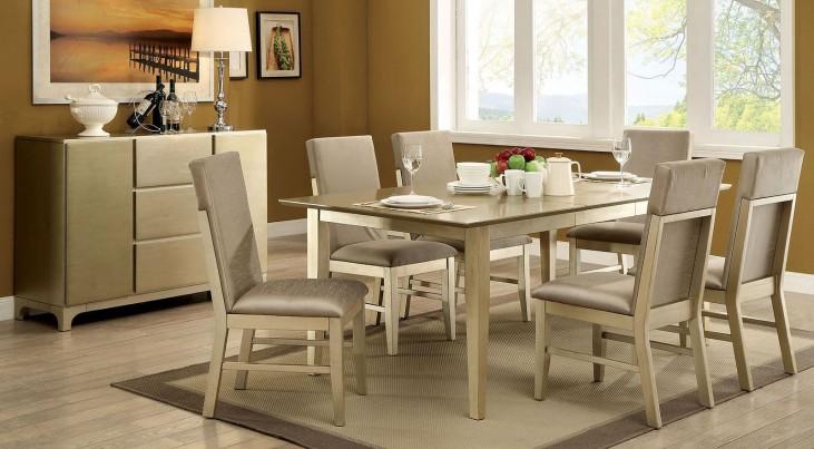 Zelda Gold Extendable Rectangular Dining Room Set