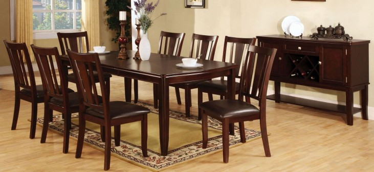 Edgewood I Espresso Rectangular Extendable Leg Dining Room Set