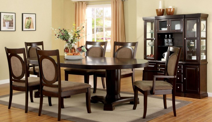 Evelyn Walnut Oval Extendable Pedestal Dining Room Set