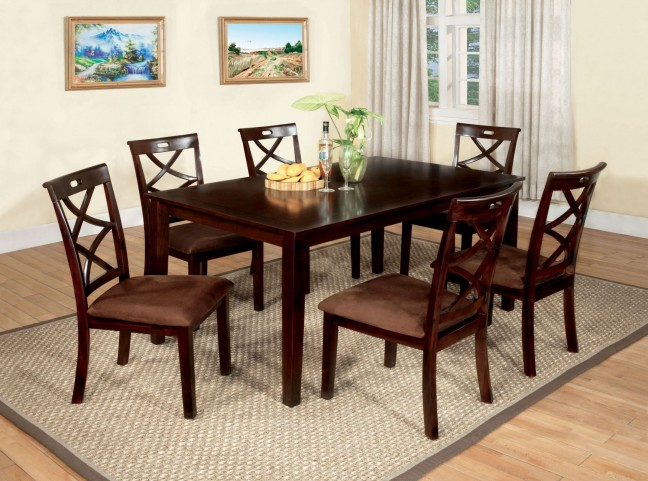 Baxter Dark Walnut 7 Piece Dining Table Set