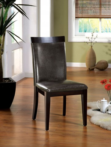 Downtown I Espresso Leatherette Side Chair Set of 2