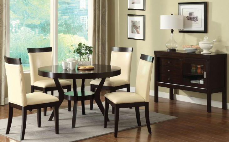 Downtown I Espresso Round Pedestal Dining Room Set