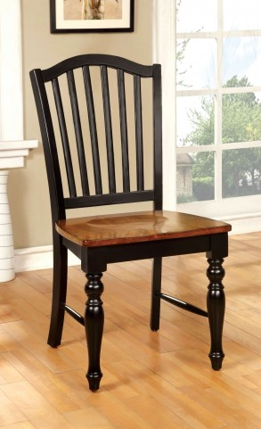 Mayville Black and Antique Oak Side Chair Set of 2
