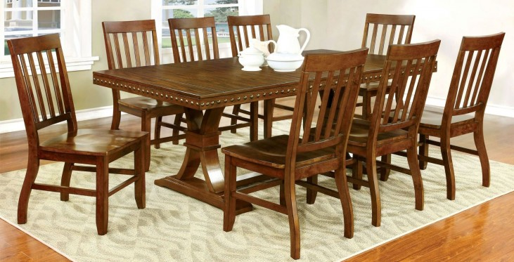 Foster I Dark Oak Rectangular Extendable Trestle Dining Room Set