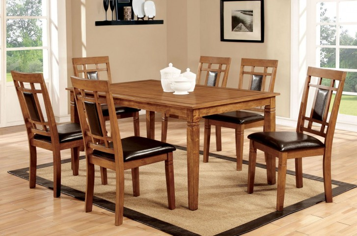 Freeman I Light Oak 7 Piece Dining Room Set