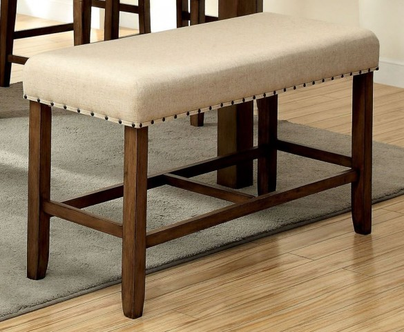 Melston II Ivory Flax Fabric Counter Height Bench