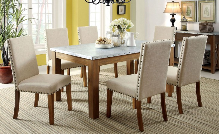 Walsh Natural Tone Galvanized Iron Top Rectangular Dining Room Set