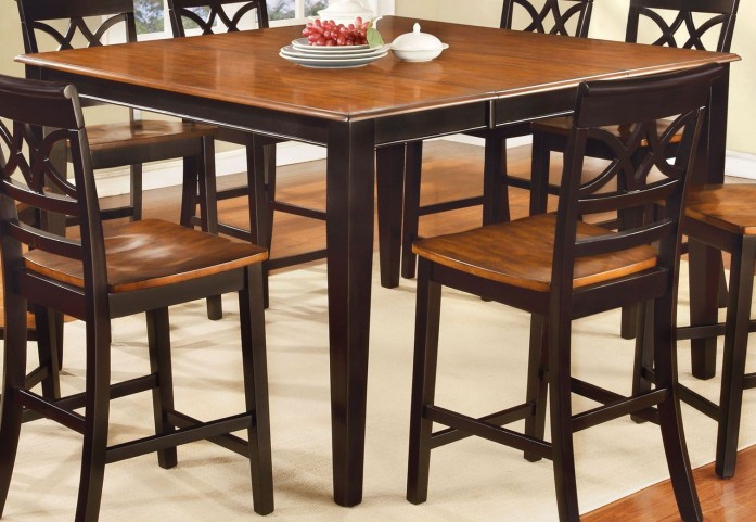 Torrington II Black and Cherry Square Counter Height Leg Table