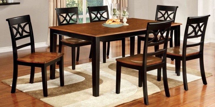 Torrington Black and Cherry Rectangular Extendable Leg Dining Room Set