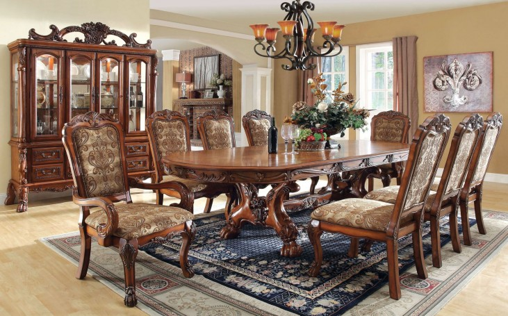 Medieve Antique Oak Rectangular Extendable Trestle Dining Room Set