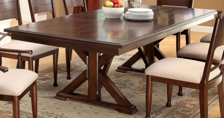 Descanso Brown Cherry Rectangular Extendable Trestle Dining Table