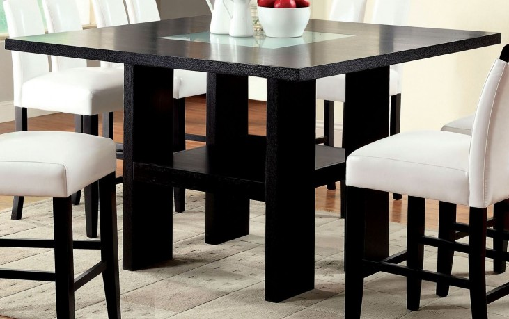Luminar II Fog Glass Counter Height Pedestal Table