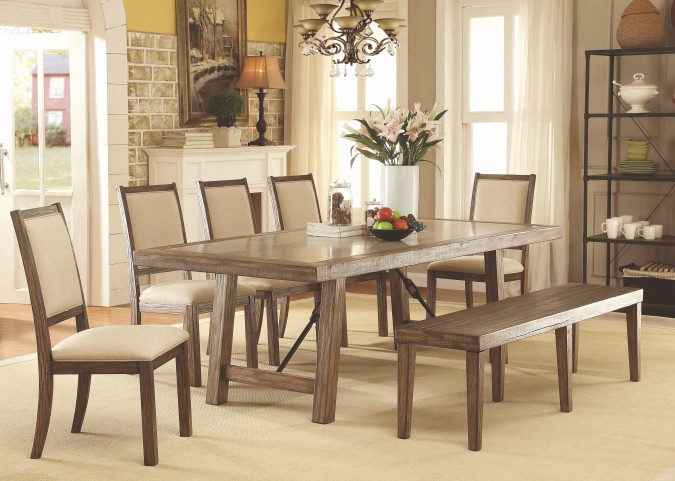 Colettte Rustic Oak Rectangular Dining Room Set