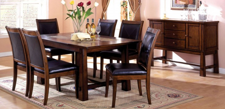 Living Stone I Tobacco Oak Rectangular Marble-Insert Dining Room Set