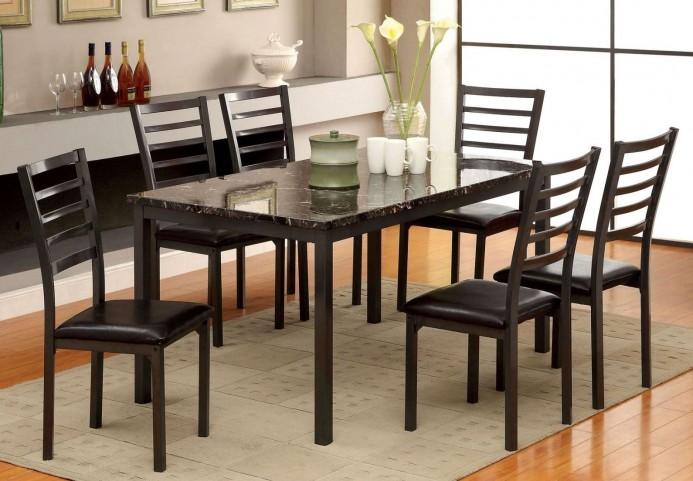 "Colman 60"" Faux Marble Top Rectangular Leg Dining Room Set"