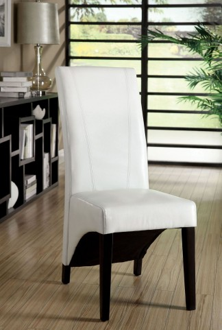 Madison White Leatherette Side Chair Set of 2