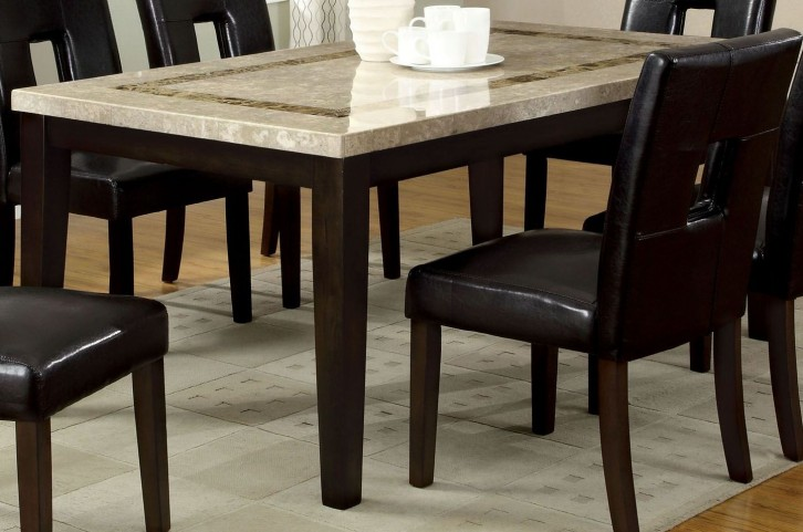Lisbon I Marble Top Rectangular Leg Dining Table