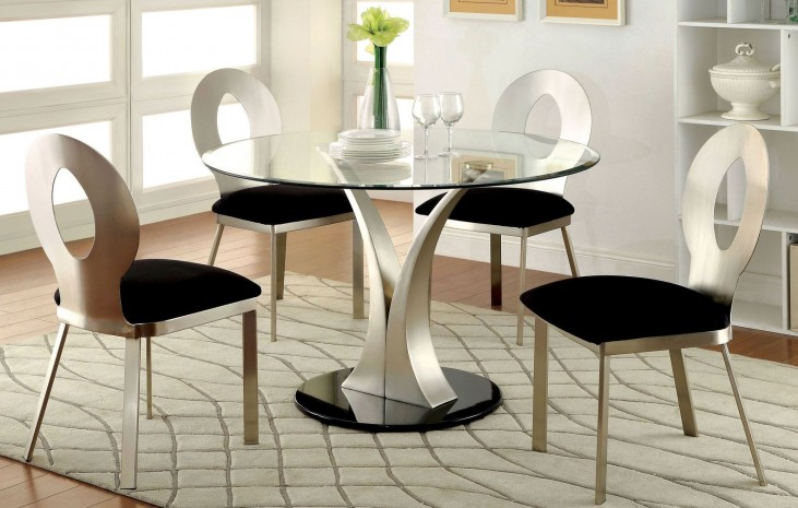Valo Satin Plated Round Pedestal Dining Room Set